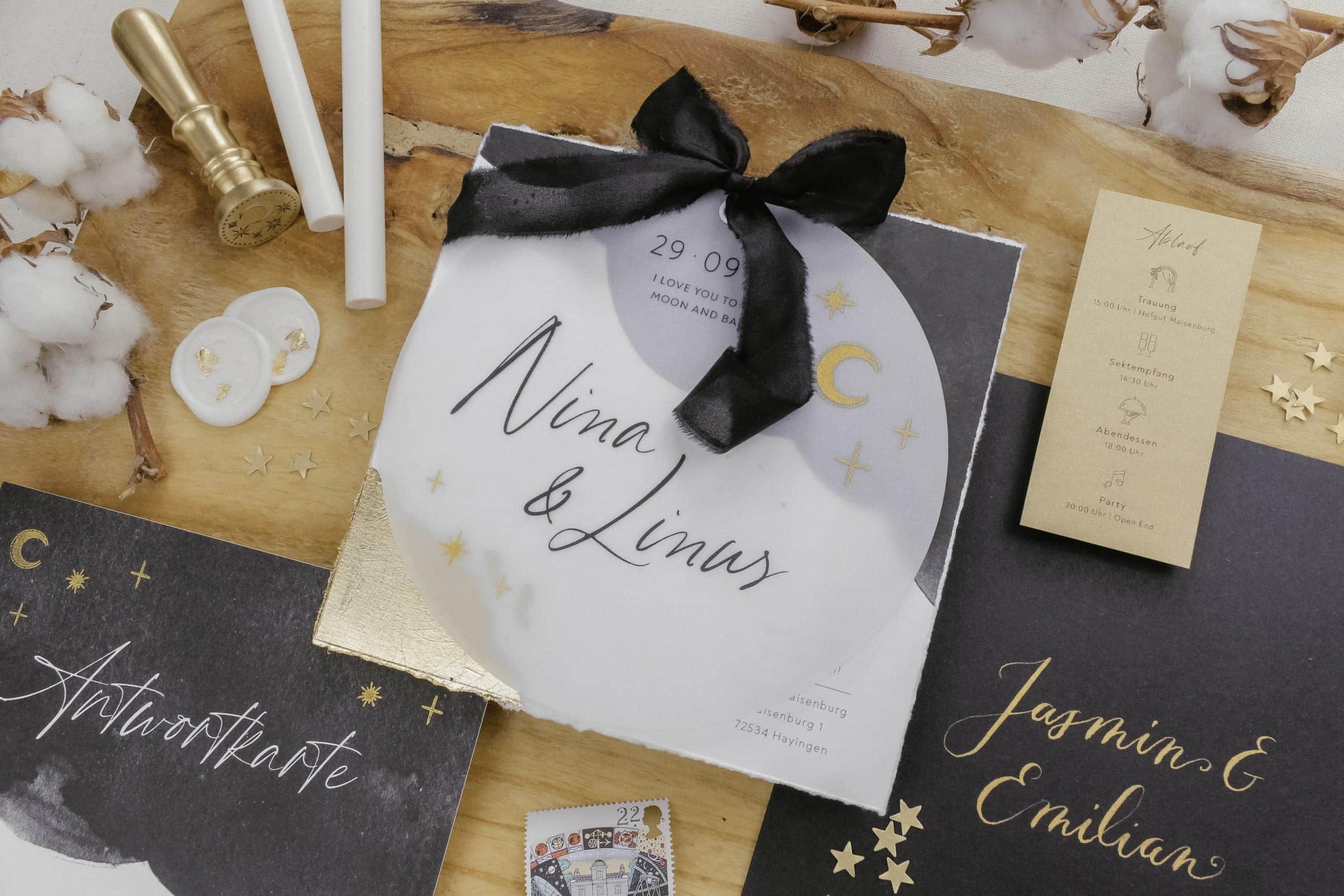 Mond & Sterne Hochzeitseinladung