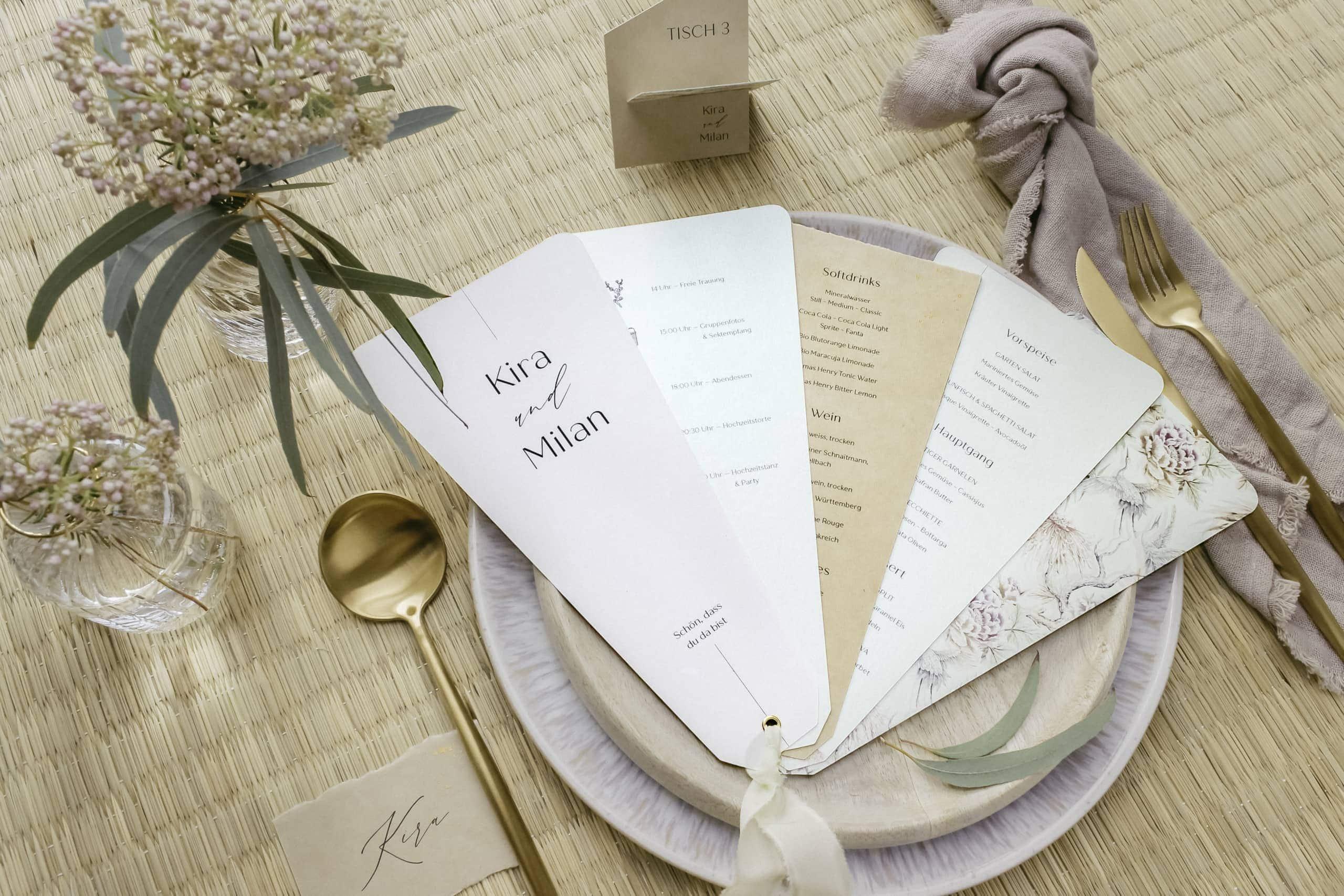 Hochzeitspapeterie Tokio Japanisch Menü Fächer