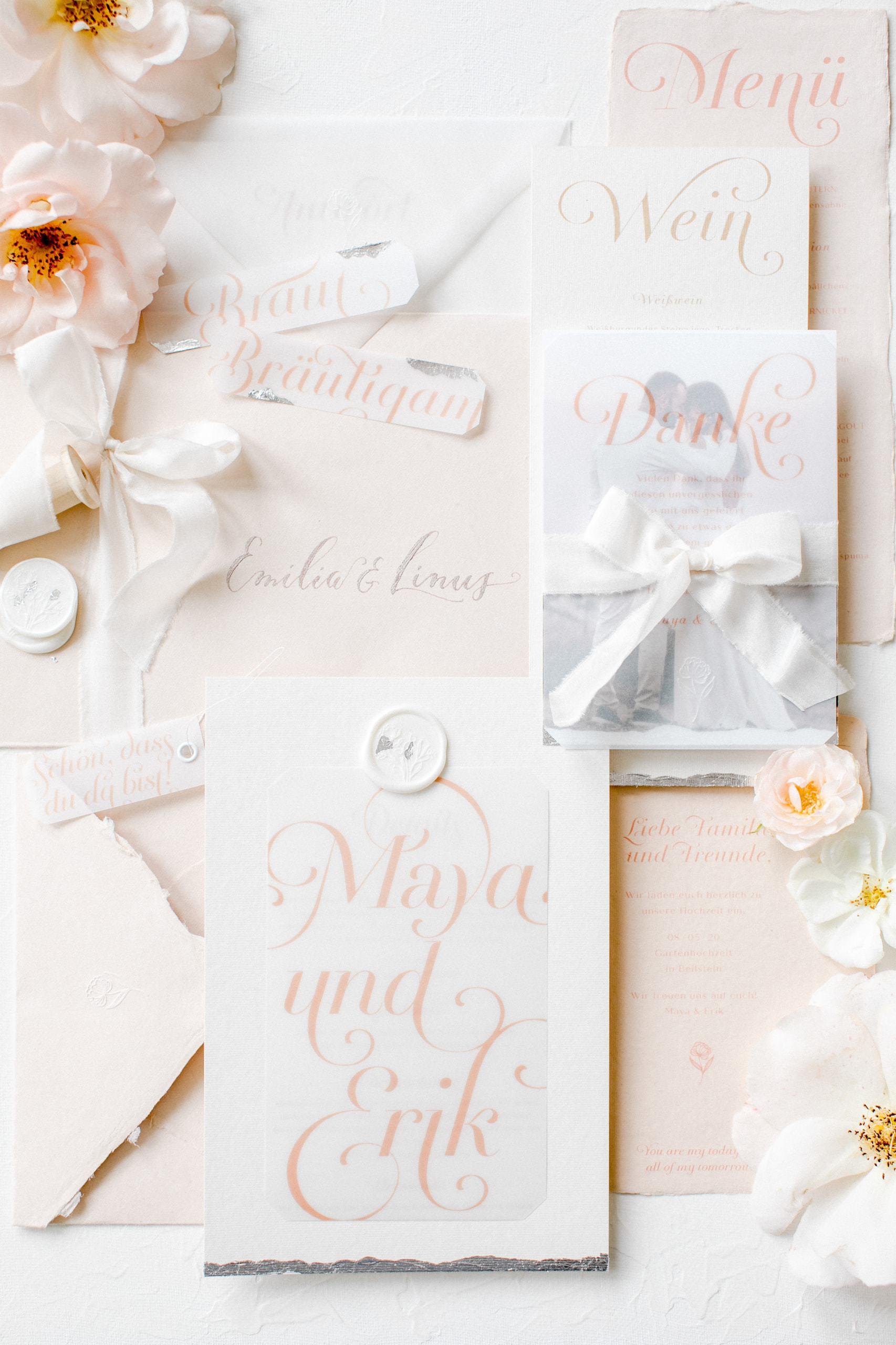 Pour l'Amour Gartenhochzeit Blush Hochzeitspapeterie MK