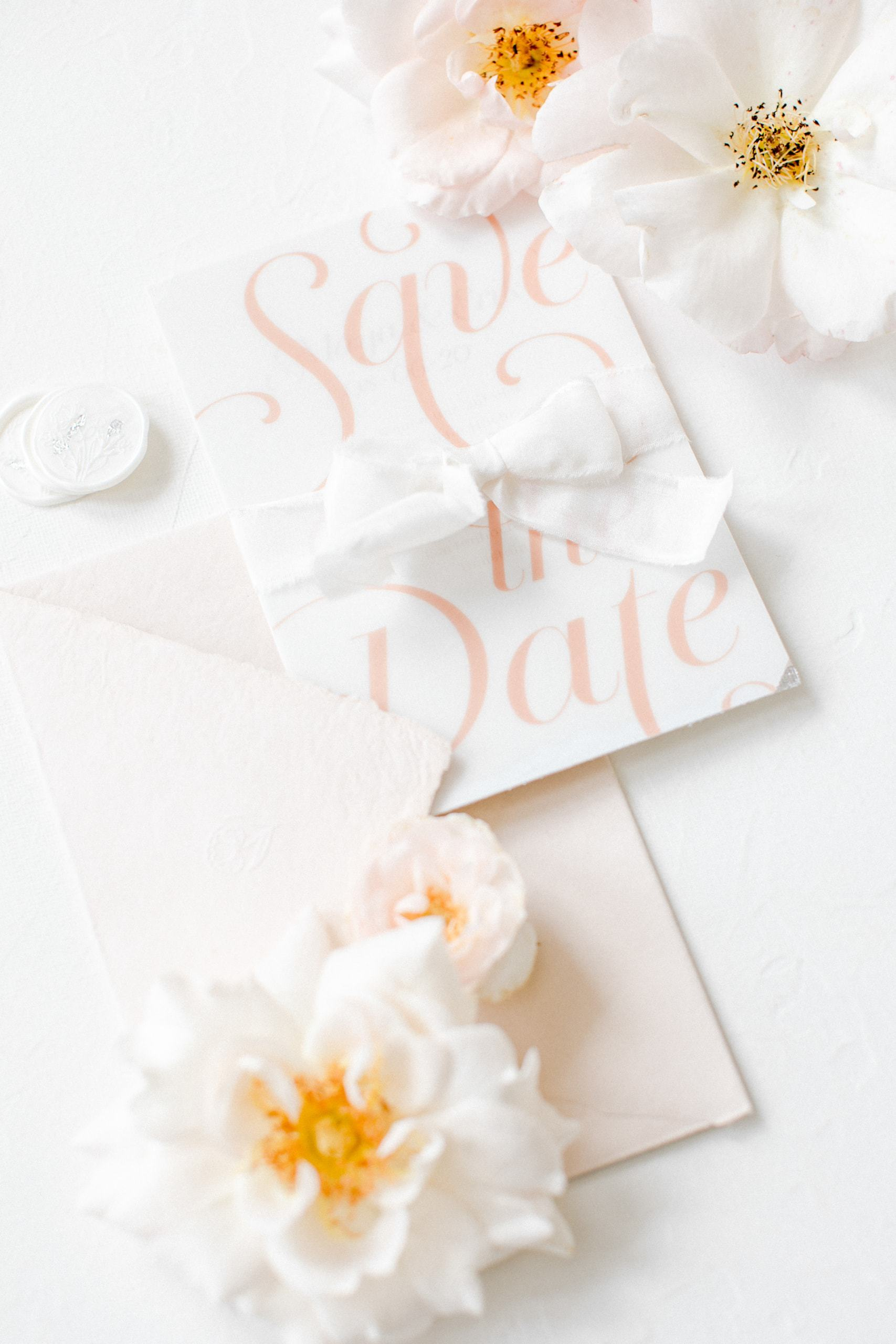 Gartenhochzeit Blush Save the Date Karte MK