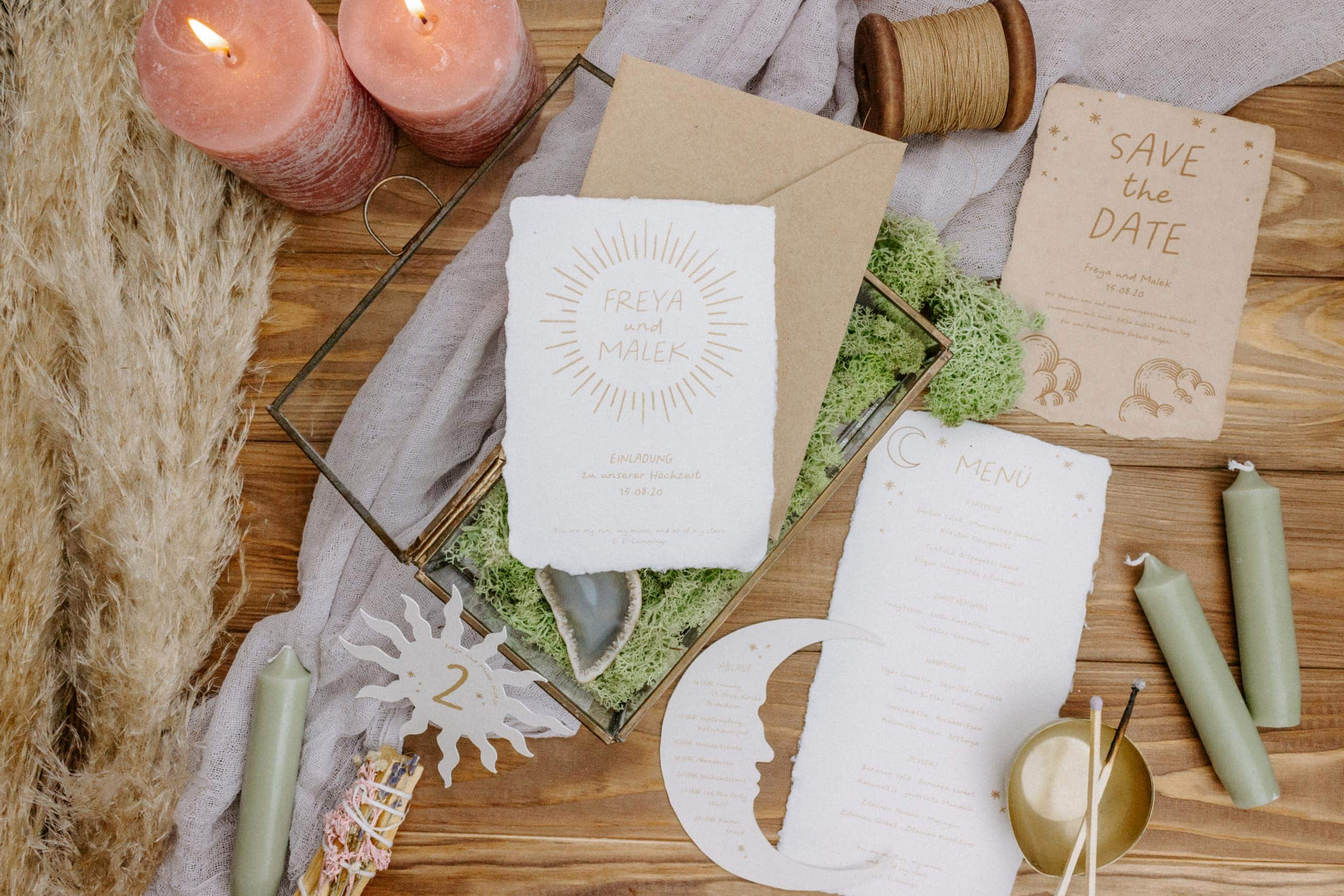 Hochzeitspapeterie handgeschöpftes Papier Celestial Sonne Mond