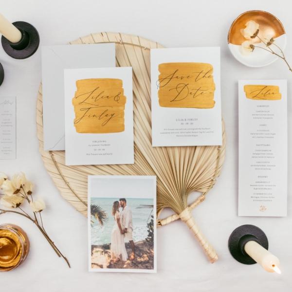 Hochzeitspapeterie Gold Glitter