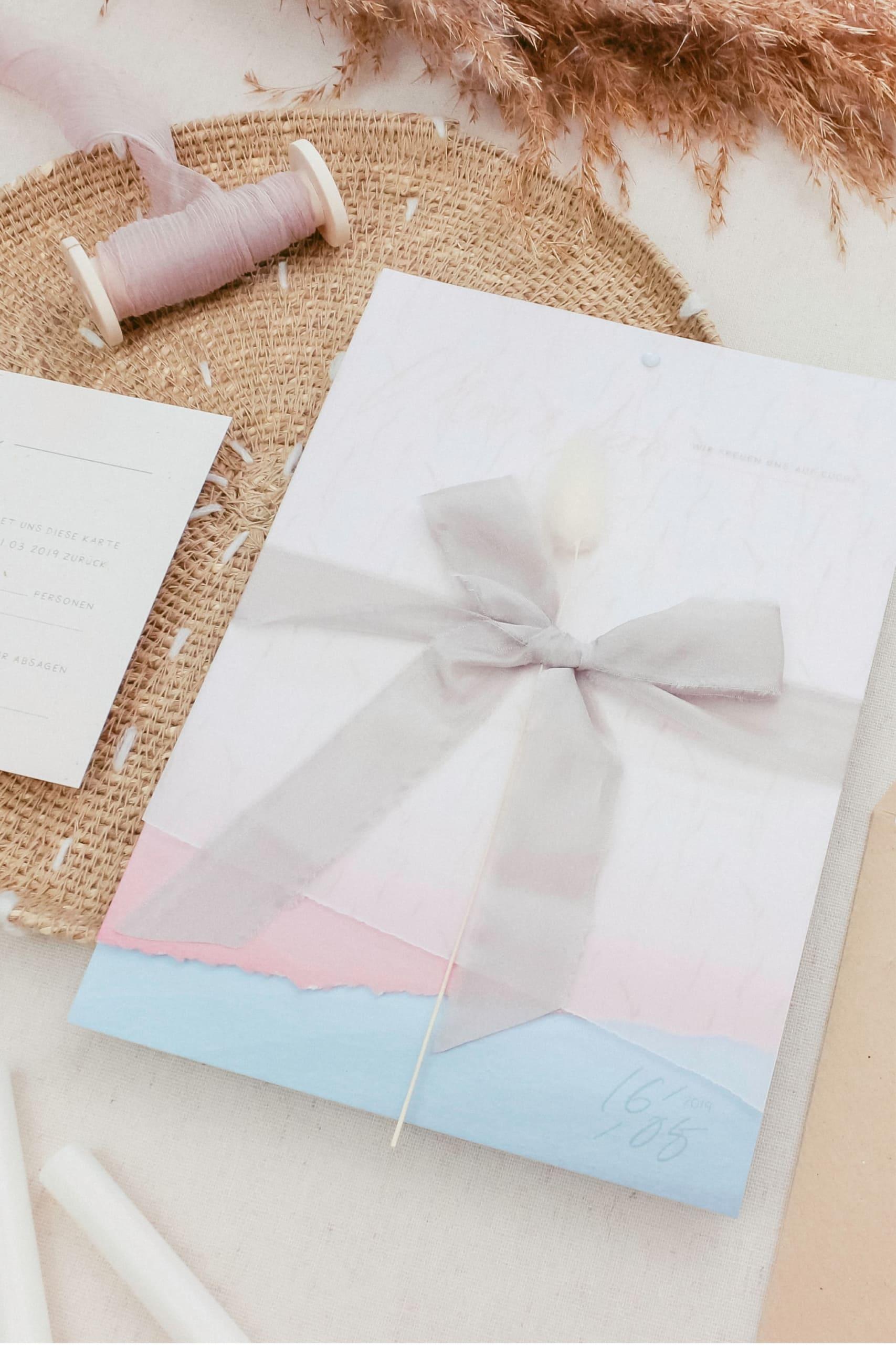 Hochzeitspapeterie Dip Dye Hochzeitseinladung Rosa Blau