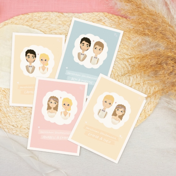 Miss Hanami Glückwunschkarte Hochzeit personalisiert