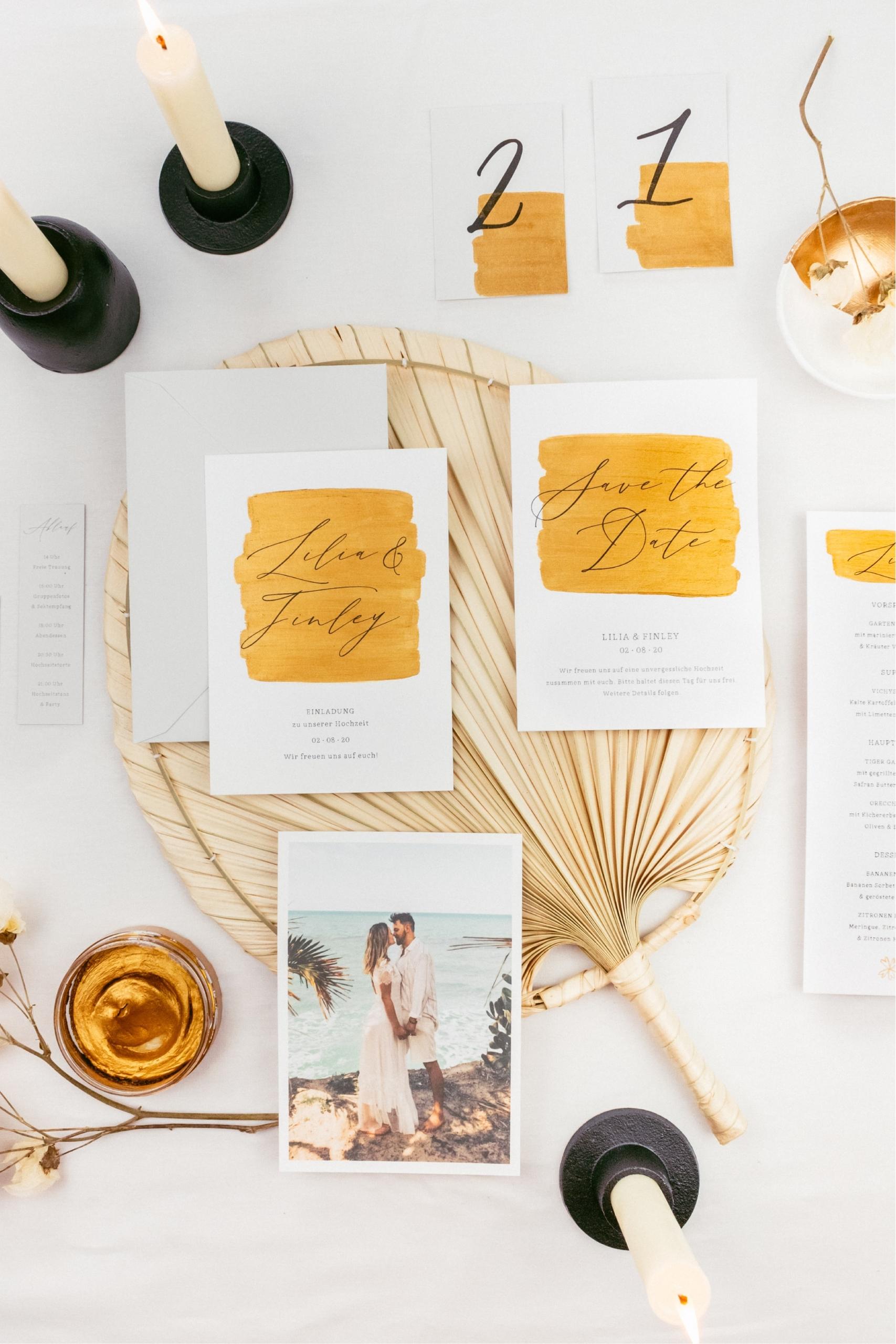 Hochzeitspapeterie Gold Glitter Fine Art