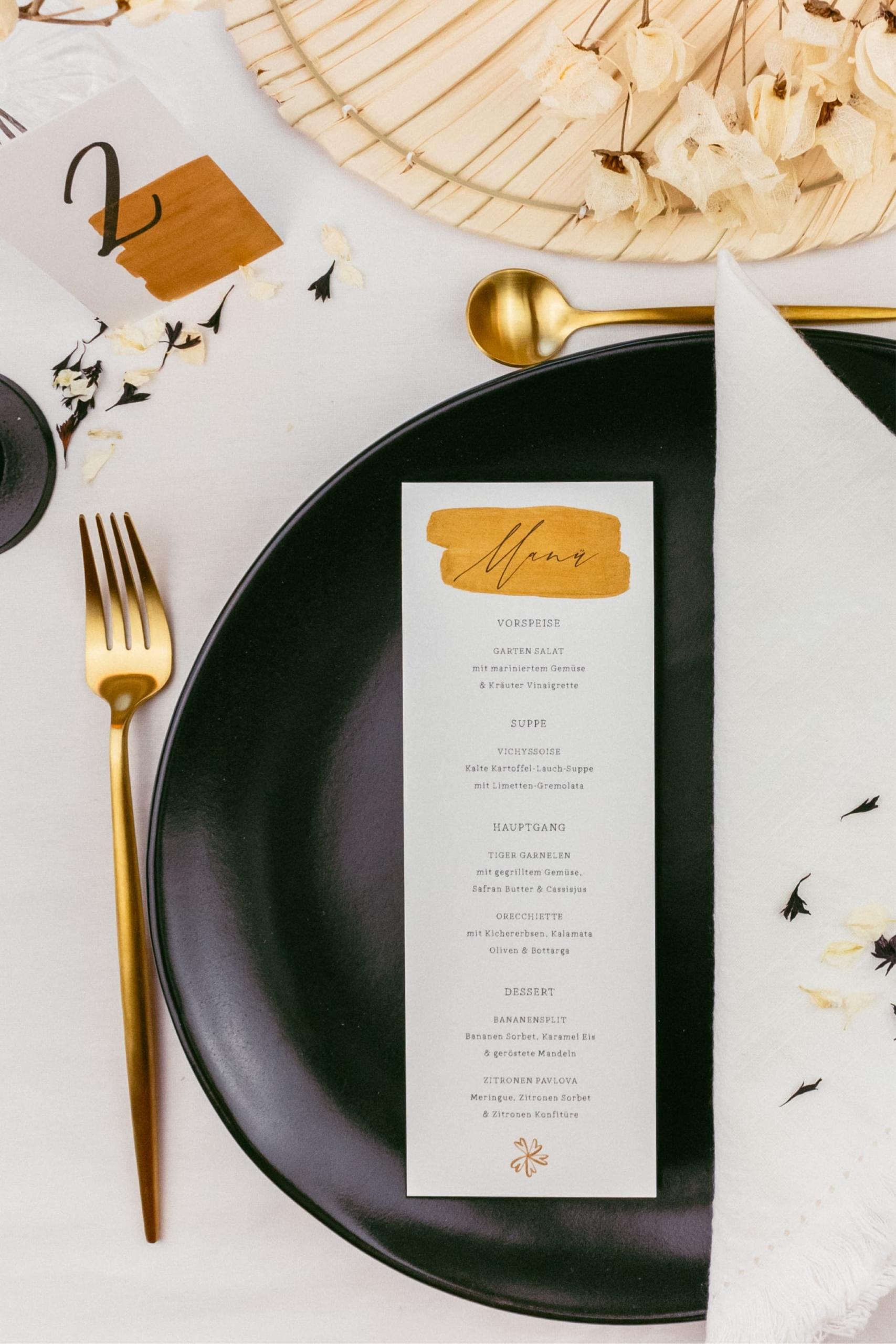 Gold Glitter Menükarte Hochzeit
