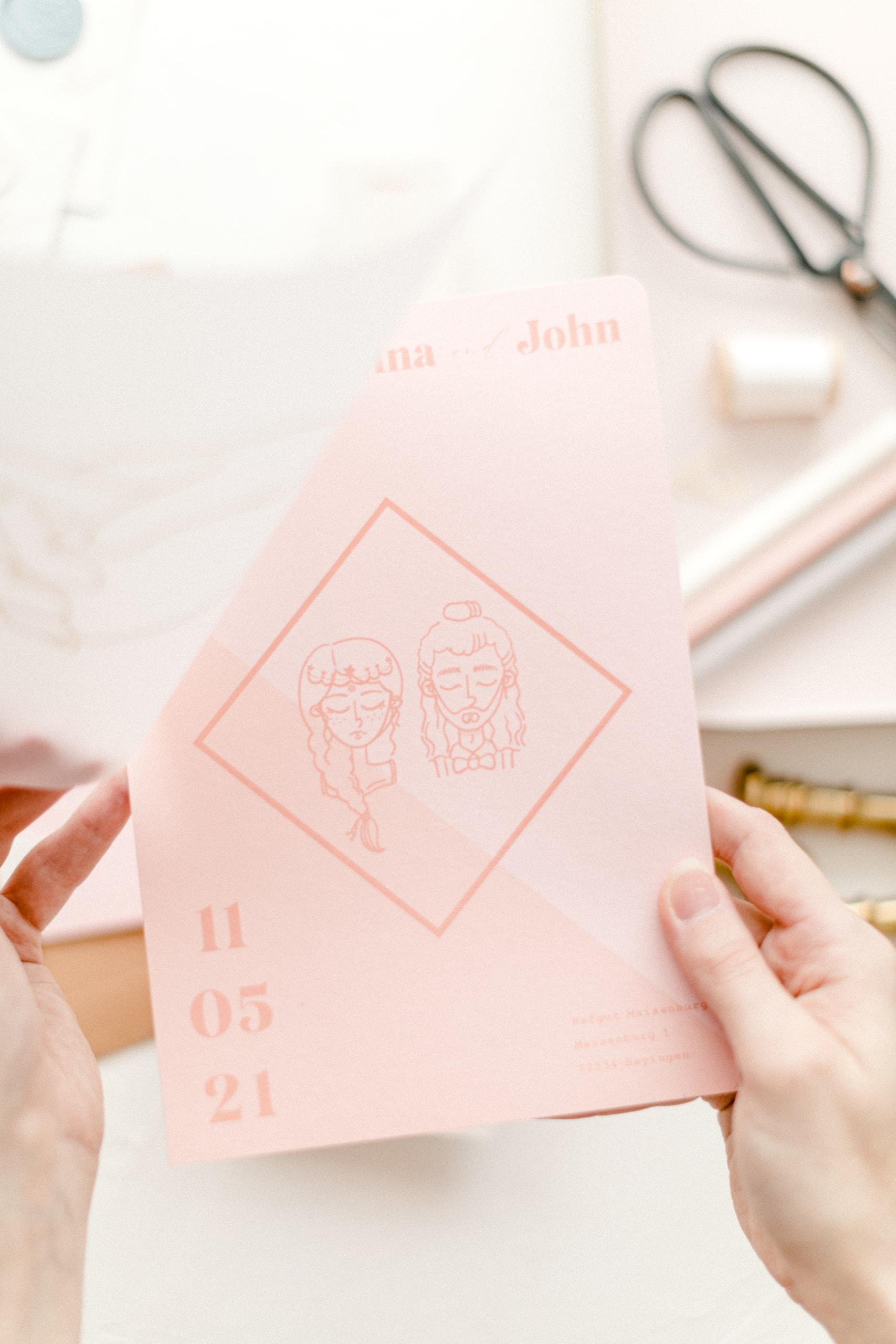 Hochzeitseinladung Illustration Blush