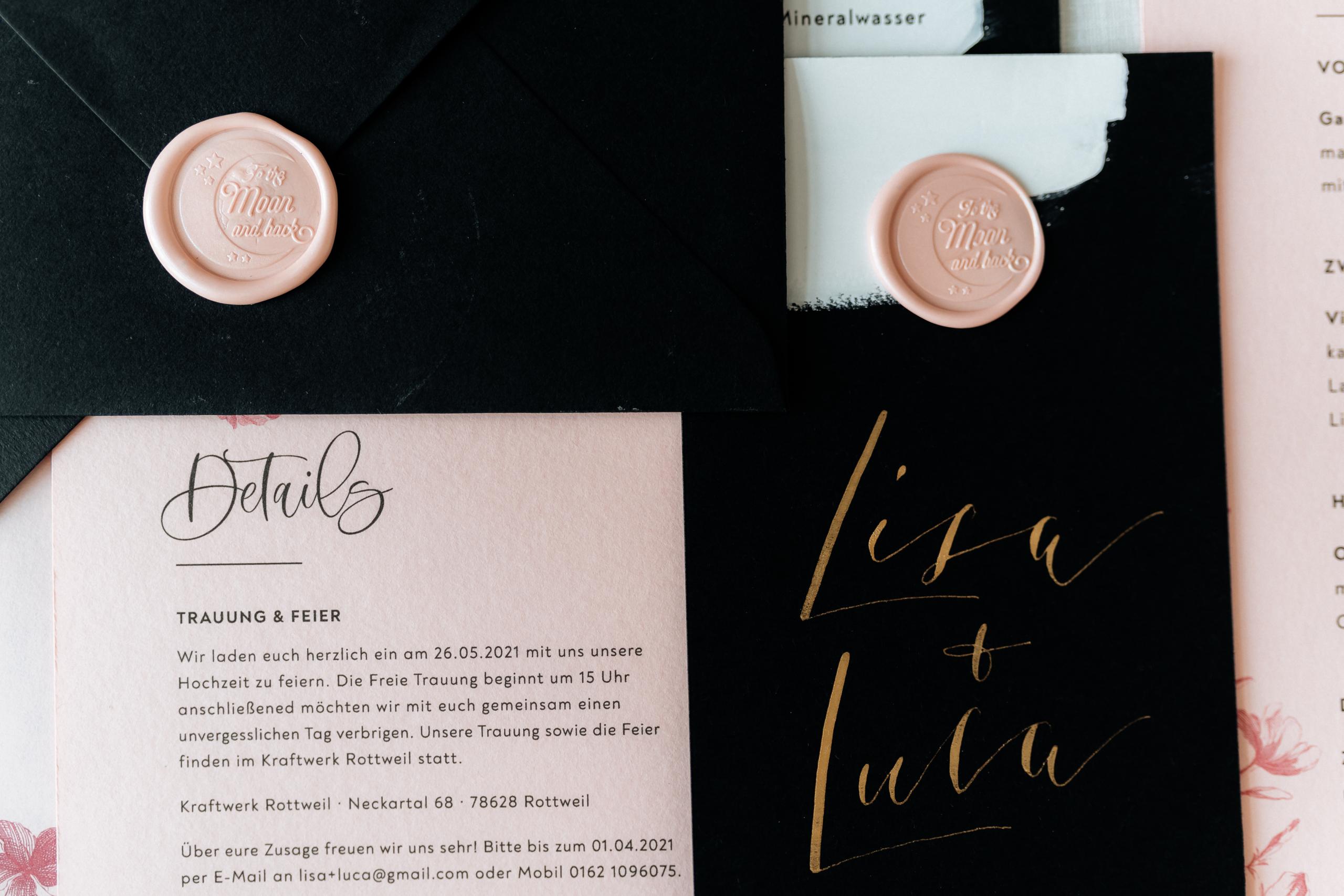 Dark Romance Black & Pink | Rosa & Schwarz Hochzeit industrial Kraftwerk Rottweil Einladung EH